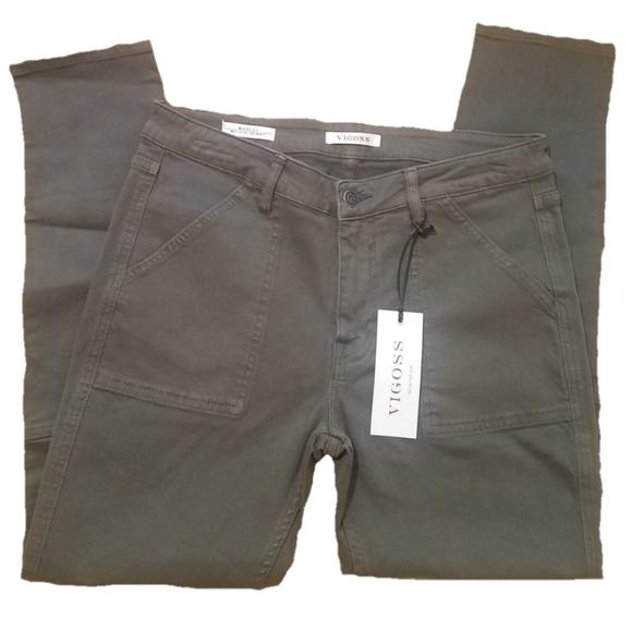 VIGOSS Marley mid rise skinny green pants jeans